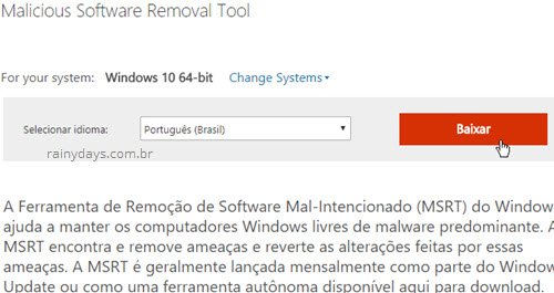 baixar Malicious Software removal tool Windows