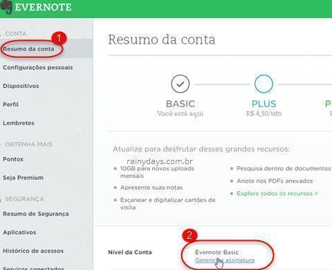 cancelar conta premium Evernote