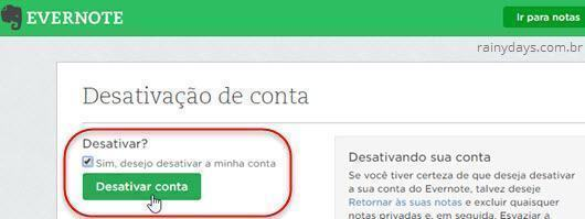 Como cancelar conta do Evernote