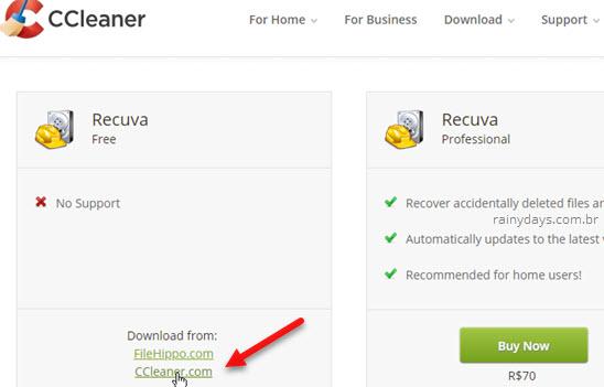 Download Recuva grátis CCleaner
