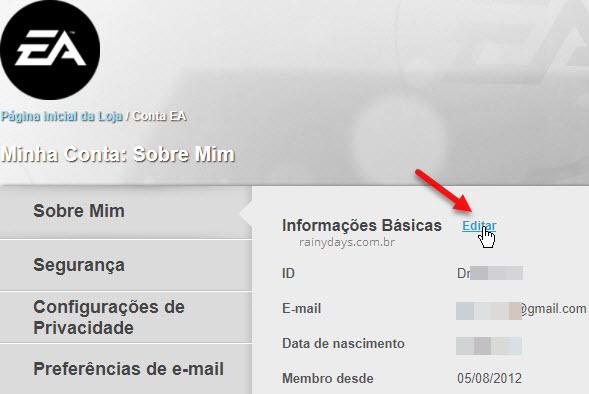 Editar informações básicas conta EA Origin