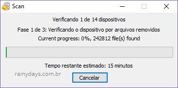 escaneamento recuperação de arquivos Windows Recuva