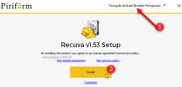 Instalar Recuva CCleaner em português Brasil