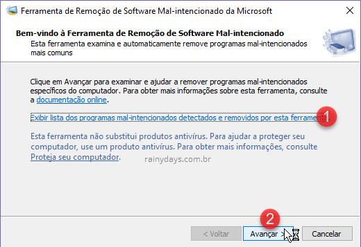 lista programas mal-intencionados e verificação malware Windows MSRT