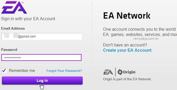 Login na conta EA Origin