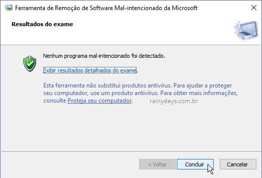 Nenhum programa mal-intencionado foi encontrado Windows Microsoft