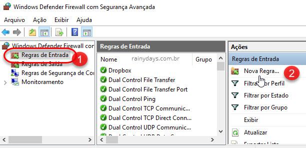 Regra de entrada Firewall Windows