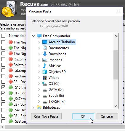 Salvar arquivos recuperados pelo Recuva Windows