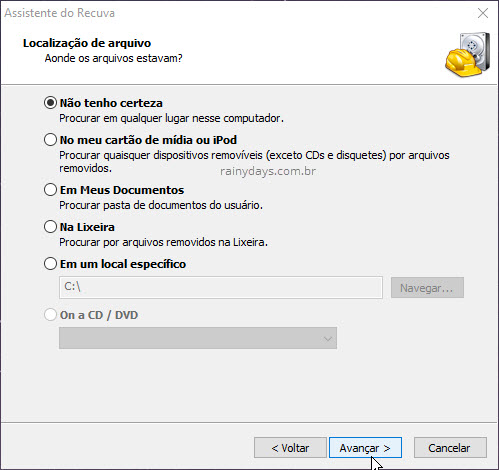 Selecionar local para escanear recuperar arquivos do Windows Recuva