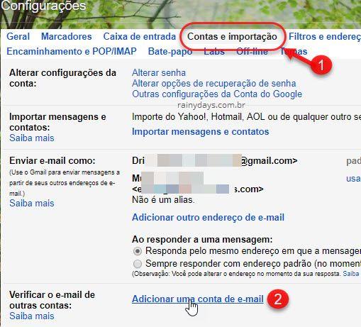 Adicionar uma conta de email no Gmail