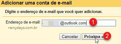Digite endereço de email para adicionar Gmail
