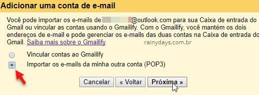 Importar emails da minha conta POP3 Gmail