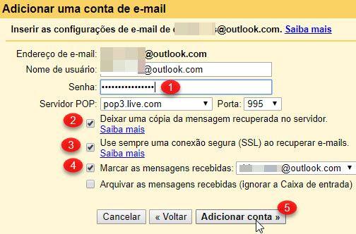 Como receber email do Outlook e Yahoo no Gmail