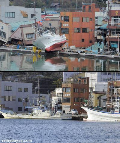 Fotos antes e depois do Tsunami no Japão