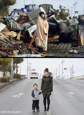 Fotos da reconstrução do Japão