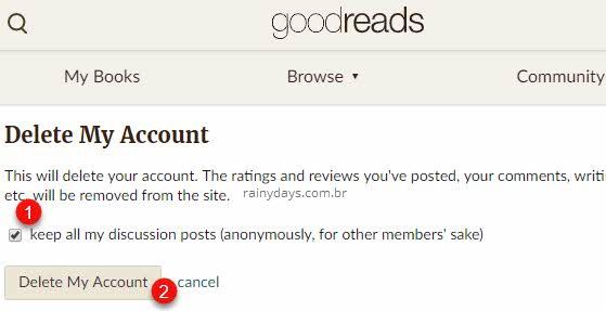 Excluir conta do Goodreads permanentemente