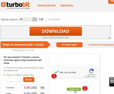 Turbobit.net download, selecione não sou robô para aparecer o botão