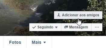 botão adicionar aos amigos no Facebook