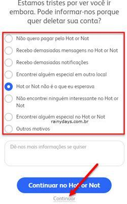 Como cancelar conta do Hot or Not 6