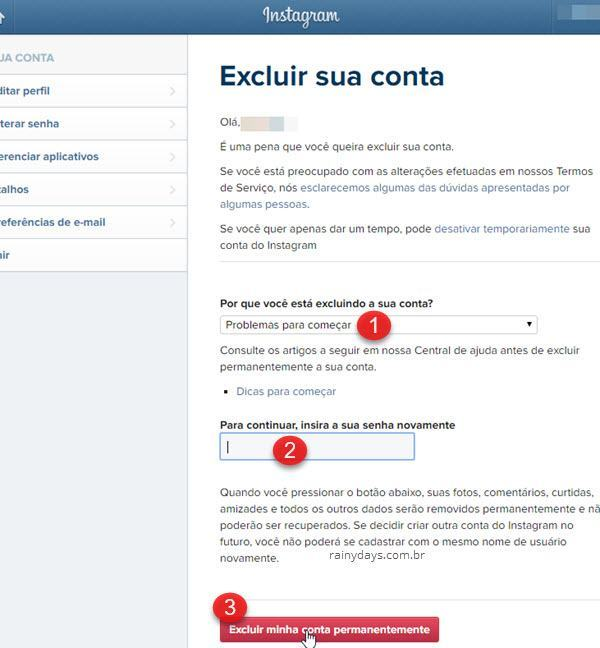 Como excluir conta do Instagram