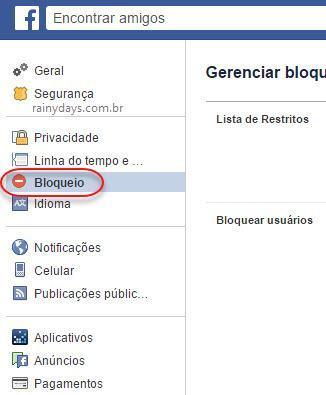 configurações de Bloqueio do Facebook