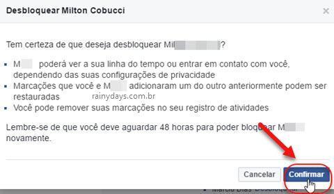 confirmar desbloqueio de pessoa no Facebook