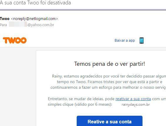 email confirmando conta desativada Twoo