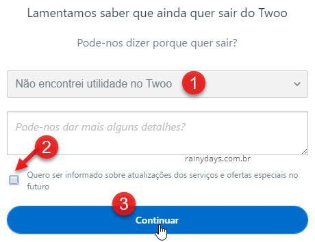 Excluir conta do Twoo