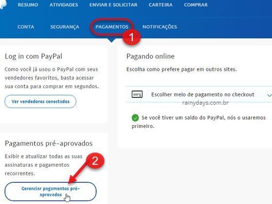 Gerenciar pagamentos pré=aprovados PayPal