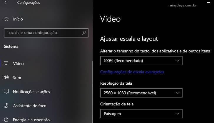 Ajustar escala e layout, resolução, orientação tela Windows