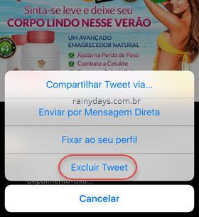 apagar tweet no iPhone