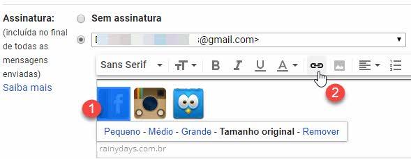 ícones de redes sociais na assinatura do Gmail link