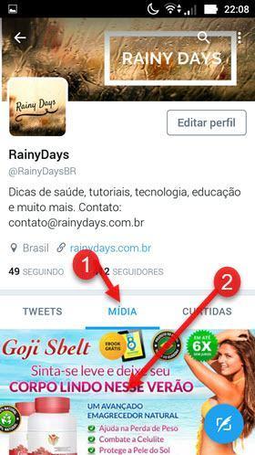 Mídia Twitter aplicativo Android