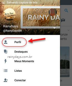perfil app Twitter Android