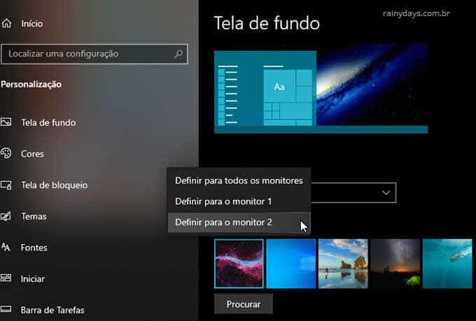 Selecionar papel de parede diferente Monitor 1 Monitor 2 Windows