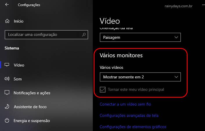 Tornar vídeo principal e alterar modo de visualização de vários monitores no Windows