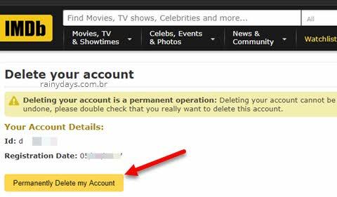 como cancelar conta do IMDB permanentemente