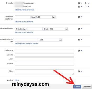 remover email @Facebook.com da Timeline
