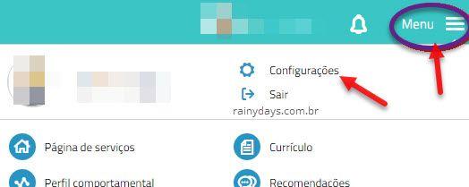Menu Configurações Vagas.com.br