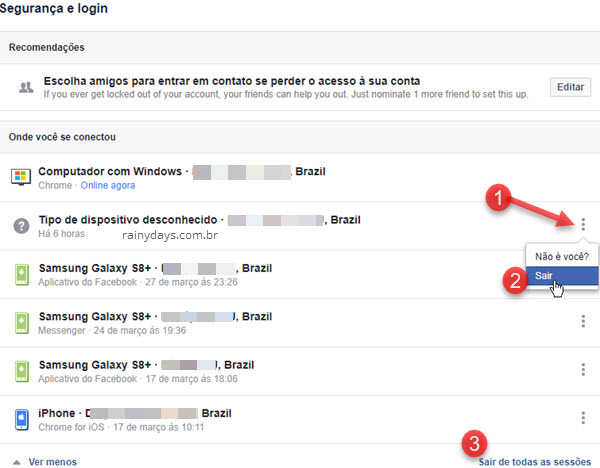 Como deslogar remotamente do Facebook