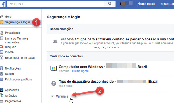 Onde você se conectou dispositivos Facebook