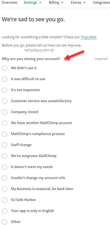 Preencher formulário de exclusão de conta MailChimp