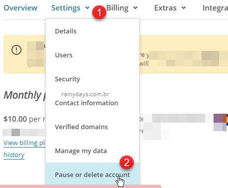 Settings Pause or delete account MailChimp
