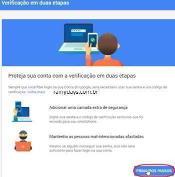 Ativar verificação em duas etapas no Google 3