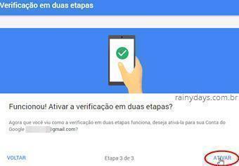 Ativar verificação em duas etapas no Google 7