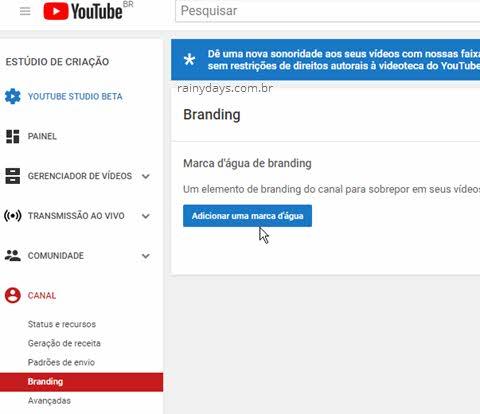 Branding Adicionar uma marca d'água vídeos YouTube