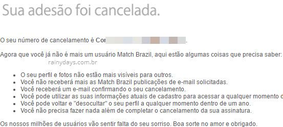 Cancelar conta Match permanentemente