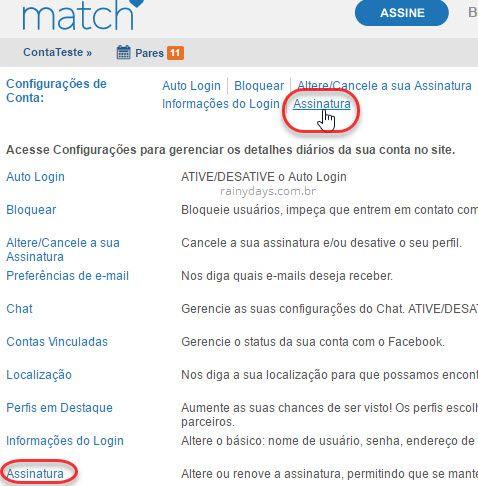 cancelar renovação automática Match.com