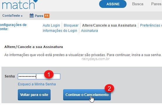 Como cancelar conta do Match.com