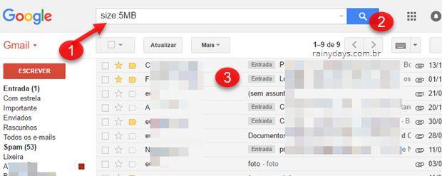 Como encontrar emails com anexo grande no Gmail ou Inbox